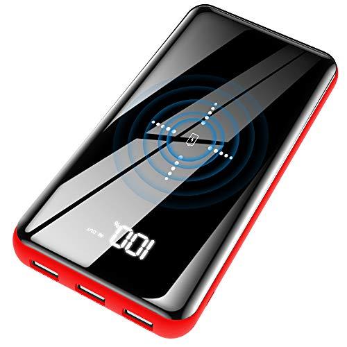 Qi モバイルバッテリー 25000mAh 大容量 ワイヤレス充電 LCD残量表示 鏡面仕上げデザイン 急速充電 スマホ充電器 2つ入力ポート 3つ出力ポート 置くだけ充電 iphone/ipad/AndroidなどQi対応 PSE認証済