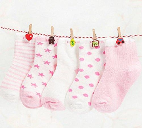 ベビー ソックス キッズ 靴下 5足 セット コットン 水玉 星模様 やわらか 素材 (1-3歳,...
