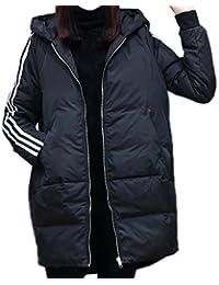 5サイズ4カラー レディース 冬 アウター 軽量 無地 ダウン コート ロング ダウン ジャケット 中綿 防寒 ゆったり フード付き 中綿コート 中綿ジャケット 防寒着 ブルゾン (M, ブラック)