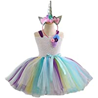 PRETYZOOM Girls Tutu Skirts Set with Unicorn Headband Colorful Princess Girl Tutu Outfit Baby Girls Unicorn Birthday Outfit Set