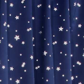 1級遮光カーテン プラネット ネイビーブルー 幅100cm×...