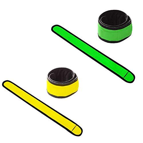 LED反射バンド meriT Ocean LEDアームバンド 超蛍光 超反射 視認性抜群 夜間ランニングライト 反射シール 高輝度 ウォーキング サイクリング 自転車袖バンド 反射板 事故防止 視認性 安全 黄色い 緑 オレンジ (緑+イエロー)