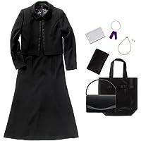 (マーガレット)marguerite m453 7点セット バッグ・ネックレス・イヤリング・ふくさ・ハンカチ・数珠・折畳トート ロング丈ブラックフォーマル レディース ワンピーススーツ 礼服 一式セット