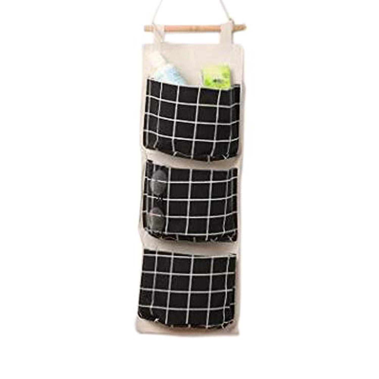 グリッド 両面防水 ストレージバッグウォールマウントコットンリネン 3層のストレージバッグ (黒)