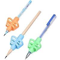 ULTNICE 幼稚園(青、橙、緑)のための姿勢矯正装置を書く援助グリップを書く3本の鉛筆のグリップホルダー
