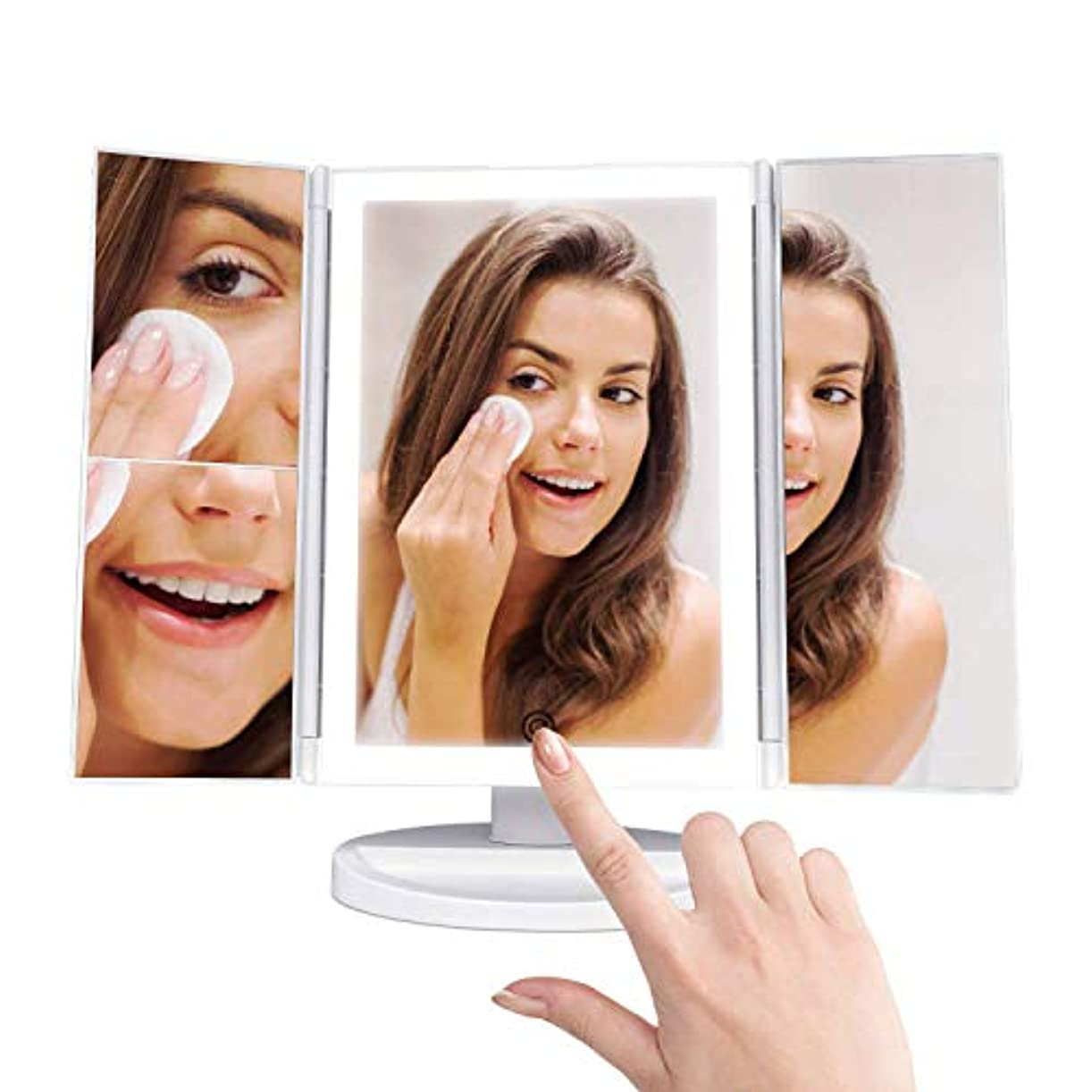 卓上ミラー 折りたたみ式 三面鏡 化粧鏡 2&3&拡大鏡付き LEDライト 角度調整機能付 タッチパネル 持ち運び便利 180度自由に回転 電池またはUSB給電(ホワイト)