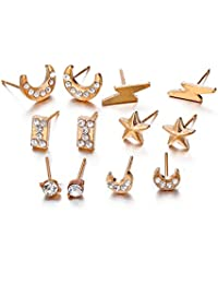 LALANG 6 Pairs Star Moon Lightning Earring Stud Women Ear Ornament