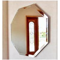 (450×450mm) 八角形ミラー 壁掛けタイプ 飾り面取り付き Jフック付き/壁掛け鏡 壁掛け 八角形 鏡 ミラー 玄関鏡 枠無し鏡 姿見 シンプル鏡 家具 Z-450HMK