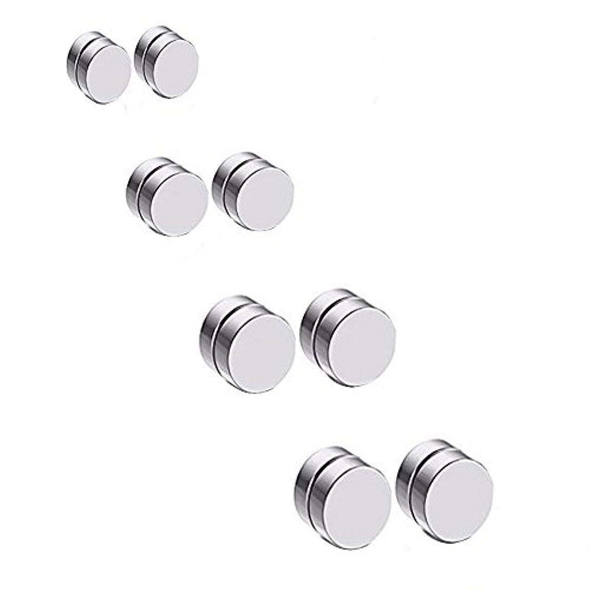 愛情深い建設ガム8pcs 6 – 12 mmステンレススチール磁気Fake Gauesイヤリング非ピアス耳のスタッドの シルバー