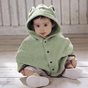 【Mariazyu】 肌にやさしいベビー用ケープ ベビーポンチョ ( オリジナル よだれかけ セット ) 赤ちゃん ぐっすり 包み込む あったか おくるみ (かえるちゃん)