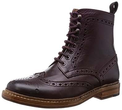 [ロンドンシューメイク] London Shoe Make オールレザーグッドイヤーウエルトレースアップショートブーツ lsm 602 バーガンディー(バーガンディー/7)