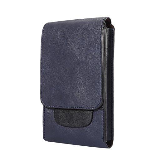 Toprime スマホベルトケース ウエストバッグ メイン収納部3つ ベルト装着 カラビナ付き レザー カード収納 小物 現金入れ iPhone6sPLUS iPhone7 PLUS 6.3インチ以下の各機種対応 縦型 ディープブルー