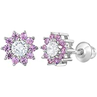 925 Sterling Silver Pink Clear CZ Screw Back Flower Earrings for Girls 6mm