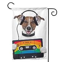 音楽カセットテープヘッドフォン犬 ガーデンサインハロウィン装飾両面バナーフェスティバルガーデニング簡単に設置できる装飾用装飾花園