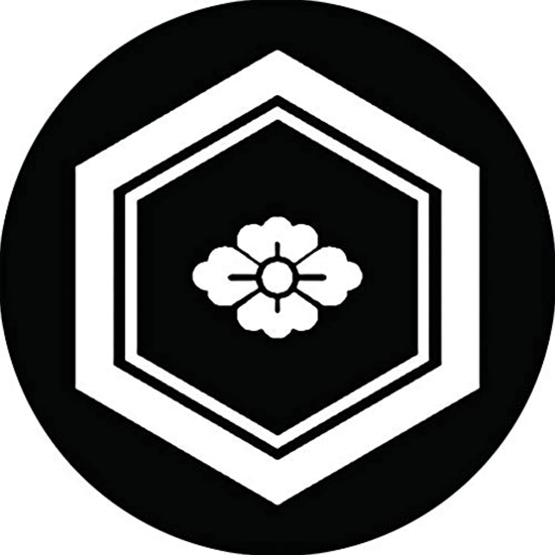 家紋シール 細亀甲に豆花菱紋 布タイプ 直径40mm 6枚セット NS4-1258