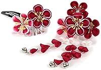 きもの京小町 七五三 女の子 髪飾り 2点セット つまみ細工 濃赤×ピンク 小花 日本製