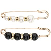 Baoblaze 2 Pieces Safety Diamante Pin Jewerly Faux Pearls Scarf Clothes Crystal Brooch