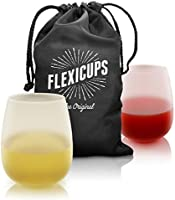 Silicone Wine Glasses (Set of 2) - Christmas Travel Camping Beach Dad - Unbreakable Stemless Outdoor Rubber Clear Cups -...