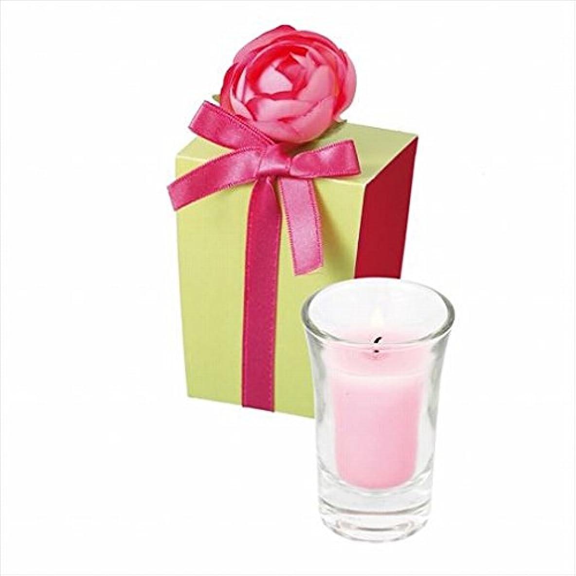 ささいな成人期砂のカメヤマキャンドル(kameyama candle) ラナンキュラスグラスキャンドル 「 ピンク 」