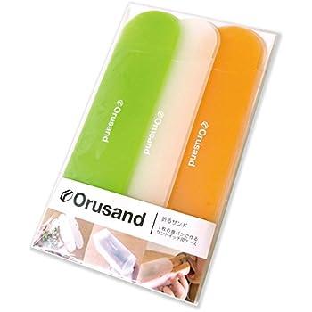 折るサンド 3コ入り orusand 1枚の食パンで作るサンドイッチ用折りたたみケース (ビタミンカラー, 3)