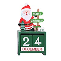 lotus.flower ノベルティ DIY 木製テーブルトップクリスマスデコレーション ミニ木製カレンダー クリスマスオーナメント クラフトギフト 写真小道具 クリスマスクラフト ホームオフィス装飾 Santa Claus