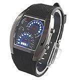 スピードメーター風 腕時計 青色LED点灯 本体ガンメタ メンズ デジタルウォッチ