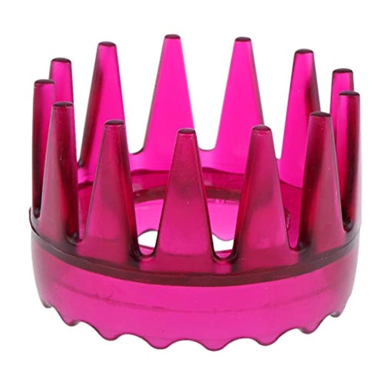 法廷チャンス個人的に頭皮マッサージ 櫛 シャワー シャンプー ヘアブラシ 4色選べ - ローズレッド