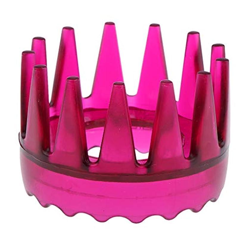 アジャ床を掃除するきつく頭皮マッサージ 櫛 シャワー シャンプー ヘアブラシ 4色選べ - ローズレッド