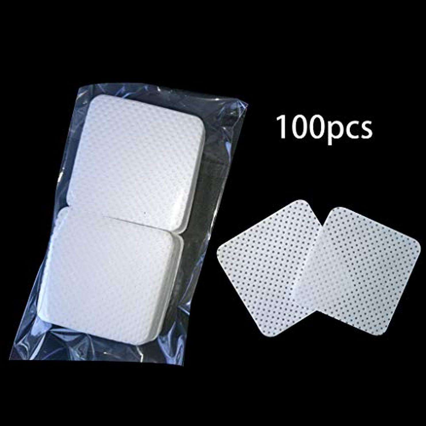 Lamdoo 100ピース/バッグ使い捨てまつげエクステンション接着剤削除綿パッド瓶口拭きパッチメイク化粧品クリーニングツール