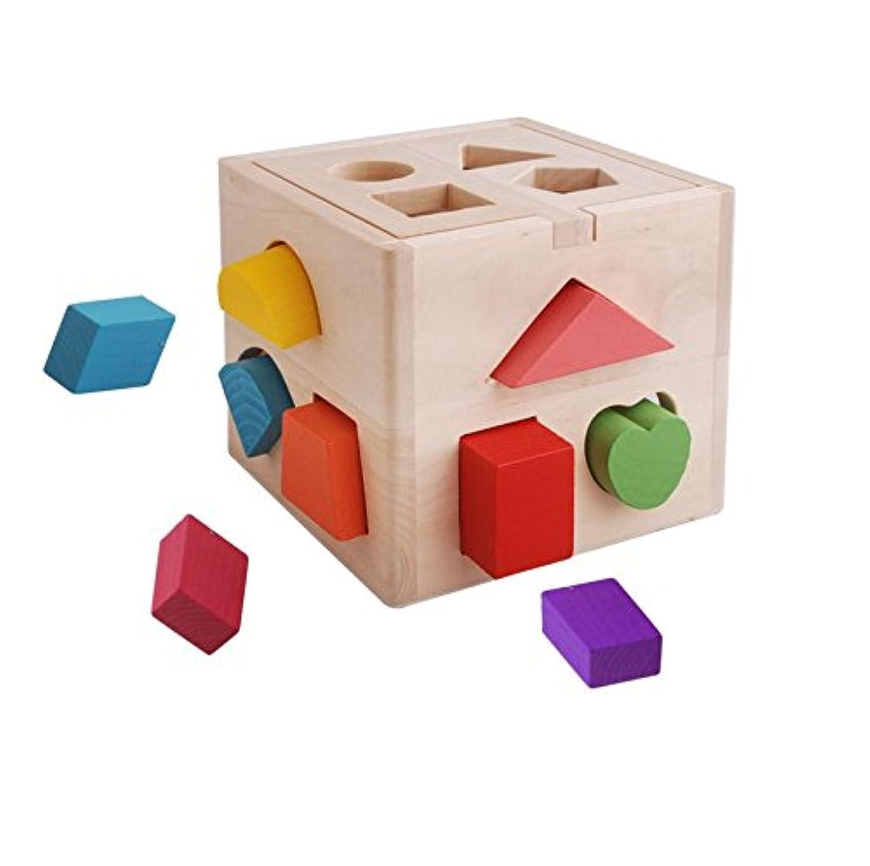 ceciI 13穴形状ソーター認知の木製図形ソートボックスand Matching木製玩具、赤ちゃん子供の教育玩具