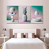 ミニマリスト色パイナップルフルーツキャンバス、絵画現代家の装飾キッチンウォールアートポスター60×80センチ×3フレームなし
