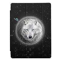 Recaso(レカソ) iPad Air2 ケース 軽量 薄型 オートスリープ スタンド機能 半透明ー PUレザー 傷つけ防止 三つ折タイプ iPad Air2専用オオカミの月