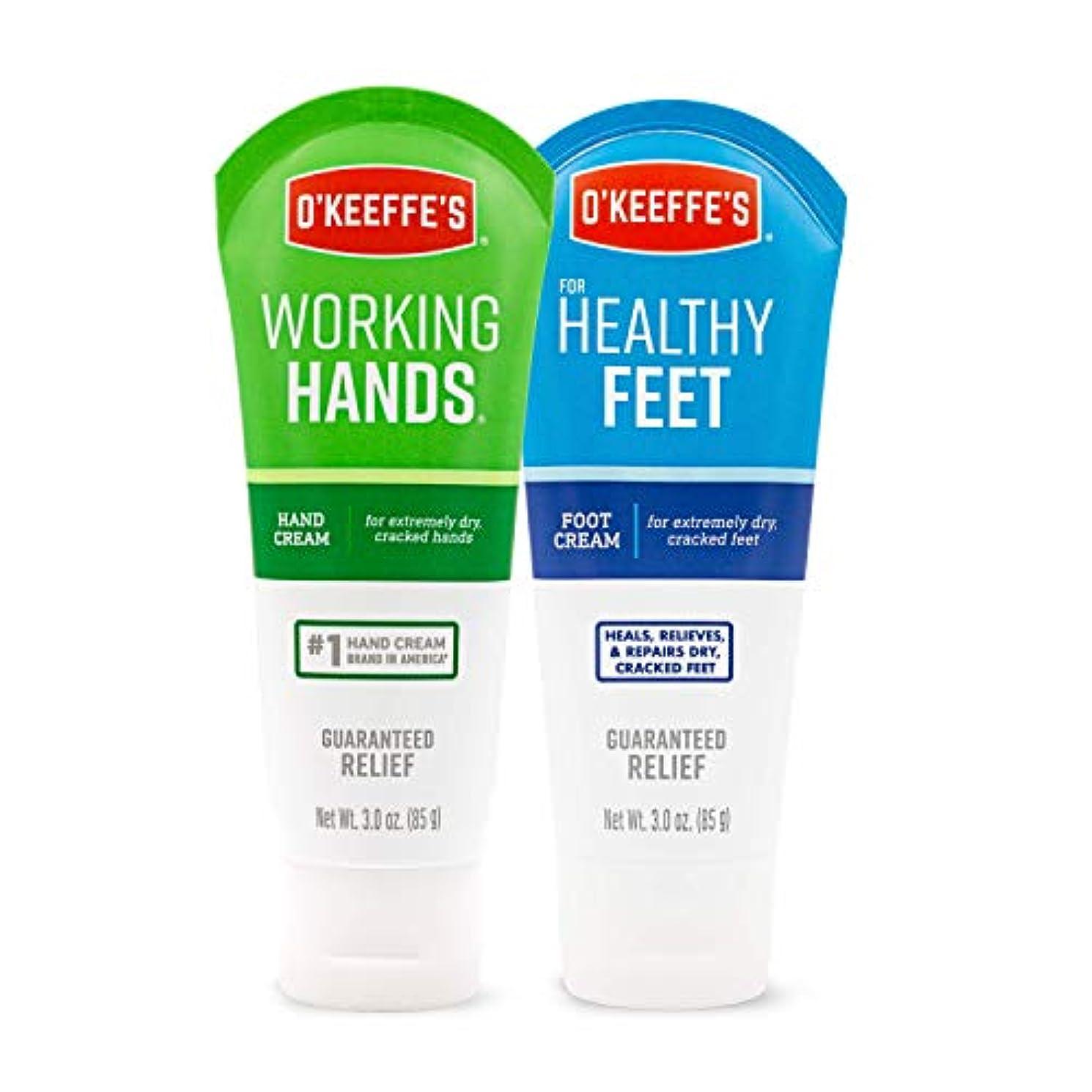 逆説かすれた人形オキーフス ワーキングハンドクリーム &フィートクリームチューブ  85g 各1(合計2点)(並行輸入品) O'Keeffe's Working Hand & Feet Tube Cream 3oz 1 each