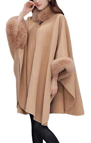 ( LaLaLa ) コート ファー 付き ウール調しっかり生地 ケープ ポンチョ マント風 ストール風 レディース
