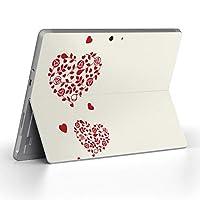 Surface go 専用スキンシール サーフェス go ノートブック ノートパソコン カバー ケース フィルム ステッカー アクセサリー 保護 ハート バラ 花 013323