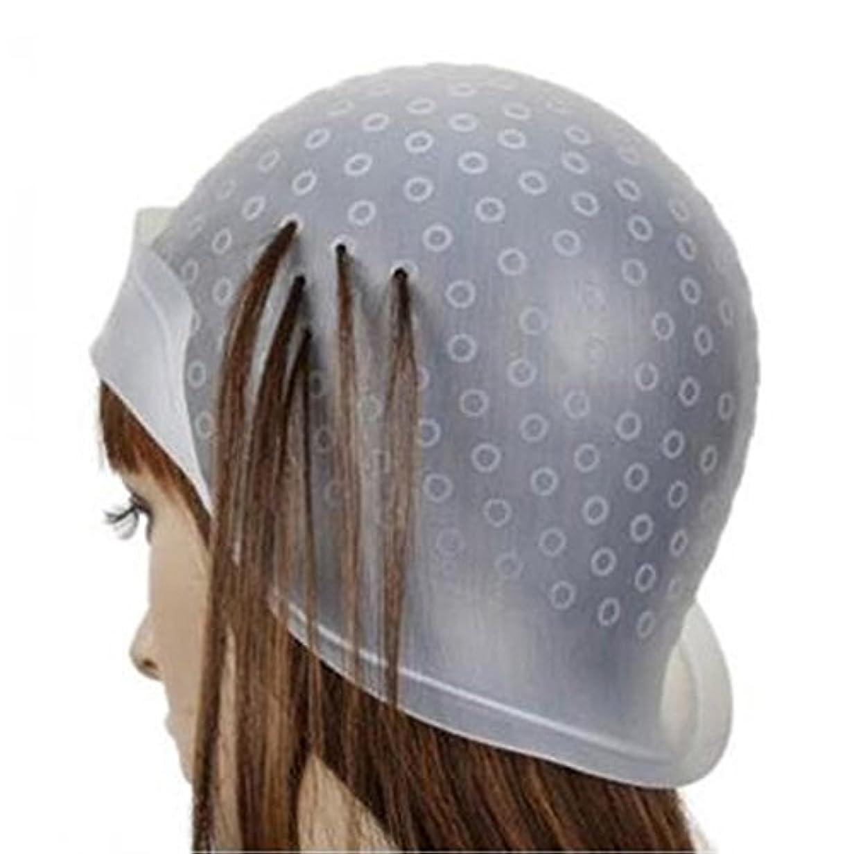 コンサート現実的特にヘア キャップ メッシュ 髪染め用 ヘアキャップ シリコン製 毛染め 洗って使える ヘアカラー 部分染め 自宅 透明(棒付き)