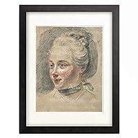 ヨハン・ハインリヒ・ティシュバイン Johann Heinrich Tischbein 「Girl's head in three-quarter profile to the left.」 額装アート作品