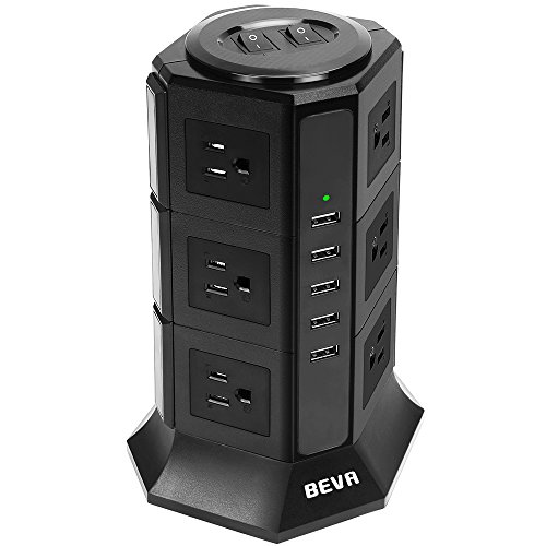 BEVA タワー式電源タップ 3層 縦コンセント 12AC充電口(110-125V)+5USBポート(最大4.5A/5V)雷ガード 過負荷保護 省エネ 延長コード2m オフィス/家庭給電用
