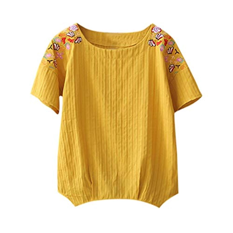 Wyntroy ブラウス 女性たち コットンリネン シャツ 夏服 半袖 丸首 緩い ブラウス エレガント 日韓風 トップス カジュアル アウトドア コスチューム ガールズ 可愛い 上着 S-3XL
