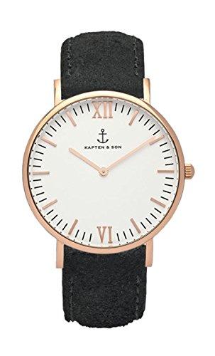 【キャプテン&サン】KAPTEN&SON CAMPUS 40mm メンズ レディース 腕時計 レザー【並行輸入品】 (【3】ホワイト-VTブラック-40mm)