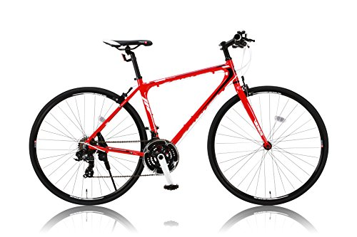 カノーバー クロスバイク 700C シマノ21段変速 CAC-021 (VENUS 470mm) 特殊加工 アルミフレーム フロントLEDライト付 レッド