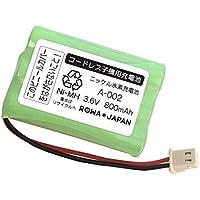 【大容量/通話時間UP】SHARP シャープ UBATM0025AFZZ A-002 コードレスホン 子機 充電池 互換 バッテリー 【ロワジャパン】