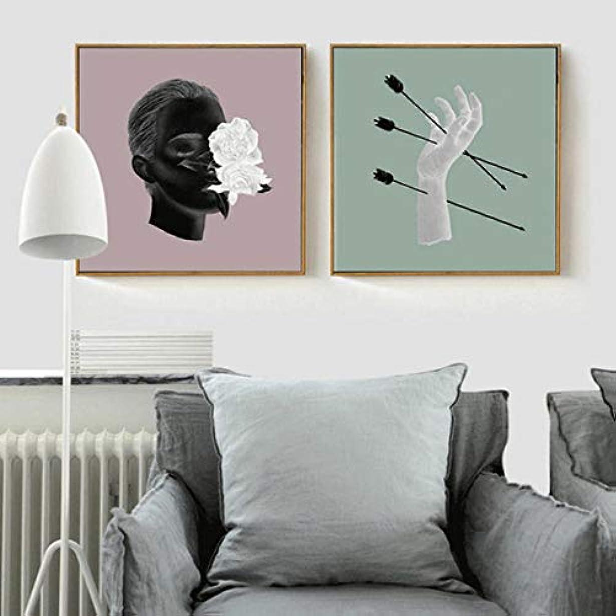 成長するトーン他にキャンバス絵画壁アート矢印を介して手マンヘッドアート写真クラフト  用ホームデコレーションコーヒーショップポスター壁に40×40センチ×2フレームなし