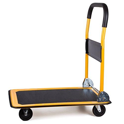 Autvivid 荷物 台車 折りたたみ 静音 ハンドルタイプ 鋼板 ゴム 長さ×幅×高さ910x610x890mm 耐荷重:300kg 自在キャスター 固定キャスター各2個 割引 激安 期間限定セール