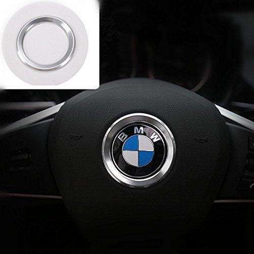 BMW 高品質 ハンドル ロゴ メッキ リング カバー ステアリング ハンドル カスタム アルミ センター リング ホイール シール ステッカー パーツF10 F20 F30 X3 X4 X5 シルバーK001-139