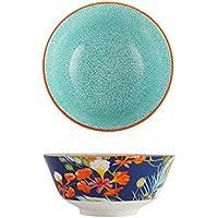 大きなスープラーメンボウルクリエイティブフルーツサラダボウル素敵な手塗りセラミック食器オーブン電子レンジセーフ6インチ (Color : Blue)