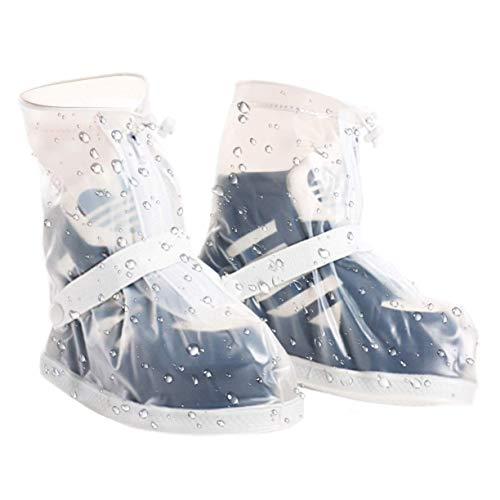 [RayingRio] 完全防水 シューズカバー 靴用 防水 泥避け 梅雨対策 レインカバー 軽量 携帯可 滑り止め コンパクト 靴の保護 履き心地のよい 地球に優しい お手入れ簡単 男女兼用 自転車 登山 雨具 通勤通学 (約23~24CM, ホワイト)