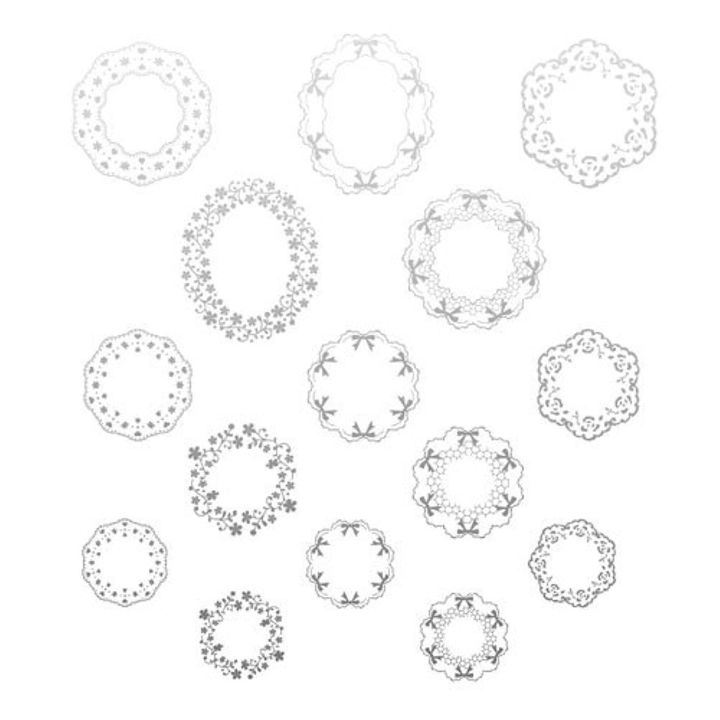 材料とティーム効能あるツメキラ ネイル用シール プレミアム リングレース シルバー