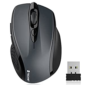 TeckNet Pro ワイヤレス マウス 6ボタン 無線光学式 2400 DPI 3段階調整 24ヶ月間電池利用可能