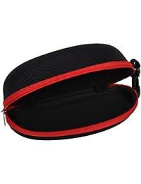 ジッパーシェルサングラスメガネケース、標準サイズアイウェア用ファスナークリップ、安全フックベルトループ